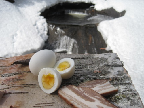Boiled Eggs and Hot Smoked Pork Belly, perfect for a LCHF Picnic