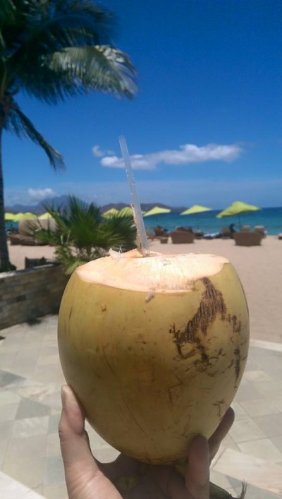 Fresh coconut at St. Kitts...