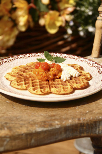 Waffles from Low Carb High Fat Cooking for Healthy Aging Photo; Mikael Eriksson